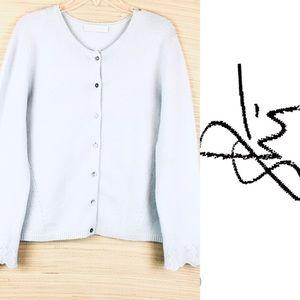 SHI CASHMERE Blue Button Down Cashmere Cardigan